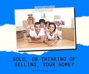 sold or selling your home? happy family with moving boxes and sold sign