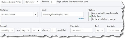 Recurring Transactions in Quickbooks Online